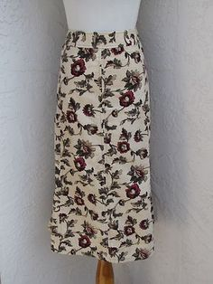 Eddie Bauer Size 14P Petite Long Floral Corduroy Skirt Below Knee Pockets | eBay