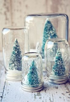Mason jar snowglobes. minus the trees & add pine cone