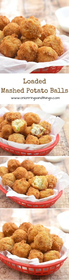 Loaded Mashed Potato Balls with fluffy potato centers and golden-crisp bread coating are a delicious party appetizer or any time of the day snack the whole crowd will love. They're the perfect use for your holiday leftovers! via @lalainespins