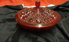 Vintage Ruby Red Depression Glass Candy Dish, Beautiful Glass Collector