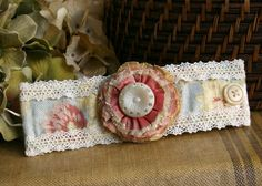 Floral Wrist Corsage Fabric Cuff Bracelet in ♥ by rosyposydesigns, $32.00