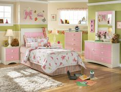 little girls room decorating ideas pictures   ... Set with Panel Headboard Sweat and Unique Pink Girl Bedroom Decoration