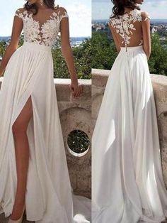 A-Line/Princess Short Sleeves Scoop Floor-Length Applique Chiffon Dresses