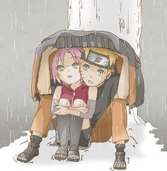 Naruto 🍥: Naruto & Sakura huddle together to take shelter against the elements Naruto Uzumaki Shippuden, Naruto And Sasuke, Anime Naruto, Naruto Fan Art, Naruto Cute, Sakura And Sasuke, Kakashi, Hinata, Naruto Couples