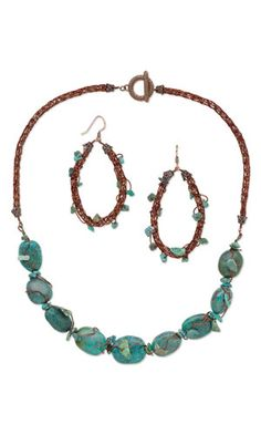 Single-Strand Necklace and Earring Set with Turquoise Gemstone Beads, Viking Knit Wire and Wirework