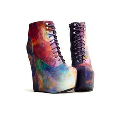 Damsel ($240) ❤ liked on Polyvore featuring shoes, boots, ankle booties, galaxy, heels, ankle boots, damsel in a dress, heeled bootie, short boots and ankle bootie boots