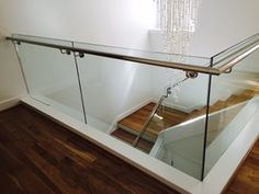Stainless steel handrail and glass railing Stainless Steel Handrail, Glass Railing, Railings, Entryway Tables, Stairs, Modern, Furniture, Home Decor
