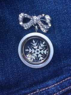 With the bouquet pin from our #bridal collection, I can wear my #origamiowl locket on my jean jacket.  Message me on FB or Twitter as #spurlockets and I'll help you create your own custom look.