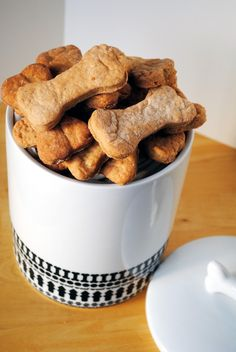 Bacon Provolone Puppy Treats. Two recipes on the link -- the other for peanut butter oatmeal treats. Make both and let furry friends decide for themselves which is the better.