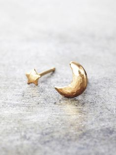 14K Yellow Gold Moon and Star Post Earrings