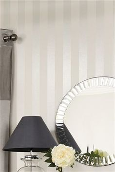 Ideas Striped Wallpaper Bedroom For 2019 Striped Wallpaper Hallway, Next Wallpaper, Stripe Wallpaper, Bedroom Wallpaper Stripes, Painting Stripes On Walls, Wall Stripes, Glitter Bedroom, Striped Walls, White Bedroom
