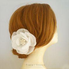 Pure Silk Organza Wedding Hair Accessory White Wedding Flower Headpiece Bridal Hair Piece Reception Hair Piece Freshwater Pearls