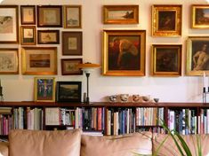 For the long wall in the living room.  Low bookcases, check.  Gallery wall of art, check.  Perfect!