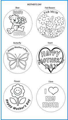 Mothers Day Mixed Designs - Colour In Yourself Badges Mothers Day Flowers, Rainbows, Badges, Ships, Butterfly, Yoga, Colour, Space, Prints