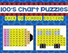 FREEBIE 100's Chart Puzzles: Back to School