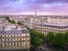 View of the Eiffel Tower from the Deli-Cieux café at Printemps Haussmann, Paris. Eurotrip, Glass Domes, Ciel, Paris France, Paris Skyline, Tower, Places, Fun, Travel