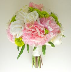 Large Peony Bouquet with Button Mums, 14'', (Pink, Ivory, Green, Chartreuse) Real Touch Peony Wedding Bouquet.