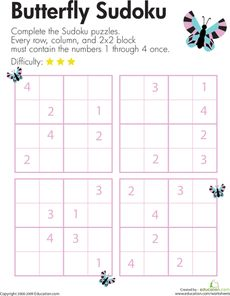 Here's a page with a set of 4x4 sudoku puzzles for challenging kids to use their logical reasoning and problem solving skills.