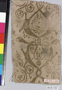 Piece of printed linen  Date:     13th–14th century Culture:     German Medium:     Linen Dimensions:     No dimensions recorded. Classification: ...