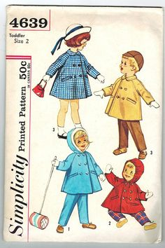 Simplicity 4639 UNCUT #Vintage 60s #Girls #Raglan-Sleeved #Coat #Sewing #Pattern