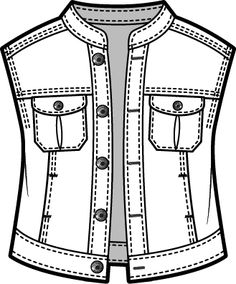 Denim vest Fashion inspiration for Liliana Flat Drawings, Flat Sketches, Technical Drawings, Clothing Sketches, Dress Sketches, Fashion Design Portfolio, Fashion Design Sketches, Fashion Show Themes, Fashion Photography Inspiration