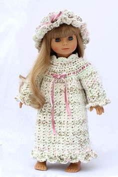 Pioneer Nightgown and Nightcap Crochet Pattern, To Fit 18 inch Dolls - American Girl, Gotz, Madame Alexander etc