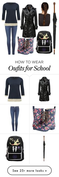 """""""walking home from school in the rain"""" by maymaplepokemon on Polyvore featuring 7 For All Mankind, Chooka, M&Co and Alexander McQueen"""
