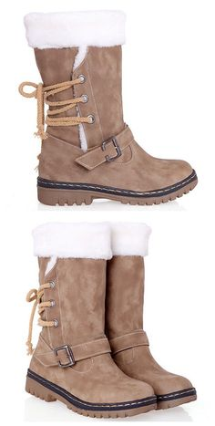 Vintage suede and buckle design snow boots for women modne ubrania, fashion week, mod Boot Over The Knee, Over Boots, Cute Boots, Cute Winter Boots, Fuzzy Boots, Snow Boots, Me Too Shoes, Combat Boots, Buckle Boots