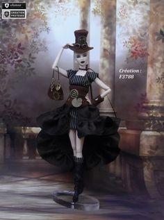 "Robe Barbie "" Streampunk N°1 "" vêtement pour poupée Barbie Fashion Royalty Silkstone Muse par f3788"
