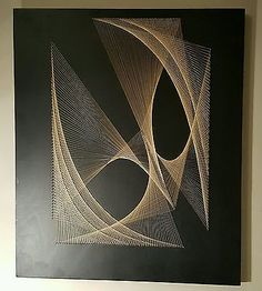 Collectable 1960s Vintage Mid Century String & Nail Retro Wall Artwork Pic 70s