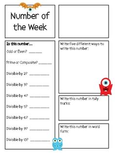 Intermediate Number of the Week Math Mat with a monster theme! You pick the number and your little monsters can answer all the questions about the n. Math Classroom, Kindergarten Math, Classroom Themes, Teaching Math, Third Grade Math, Second Grade, Math Magic, Math Intervention, Math Journals