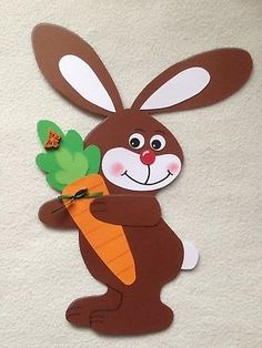 Window picture / cardboard Easter bunny with carrot / spring / Easter decoration Easy Easter Crafts, Easter Art, Easter Bunny, Spring Projects, Easter Projects, Animal Crafts For Kids, Art For Kids, Foam Crafts, Diy And Crafts