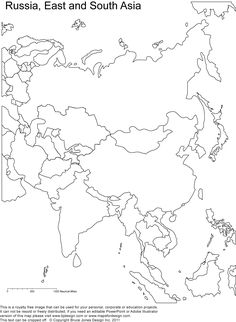 Russia Asia Central Asia printable blank maps royalty free