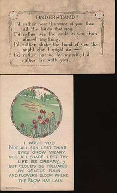 2-Greetings-P.F. Volland-Arts & Crafts-Motto-Poem-Antique Postcards Lot-ggg10