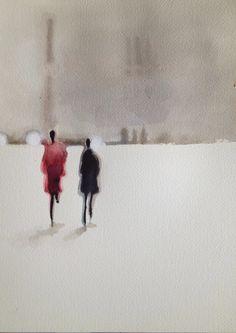 Serie sur le thème du flou, perception différente de scènes du quotidien. Vision abstraite. Watercolor paintings | aquarelle