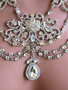 Wedding jewelry set, OOAK Bridal bib necklace and earrings ...