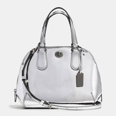 Love the Coach Prince Street Mini Satchel In Mirror Metallic Leather on Wantering. Handbags Michael Kors, Coach Handbags, Coach Purses, Purses And Handbags, Fashion Handbags, Fashion Bags, Coach Bags Outlet, Metallic Leather, My Bags