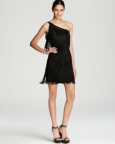 Aqua One Shoulder Dress - Fringe | Bloomingdales