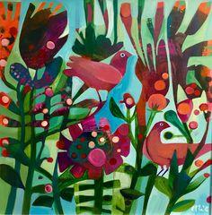 """Esté Macleod's Art """"Pink Birds"""" is a lovely layered design."""