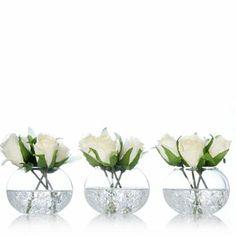 Kelly Hoppen Set of 3 Vase with 4 Cream Roses