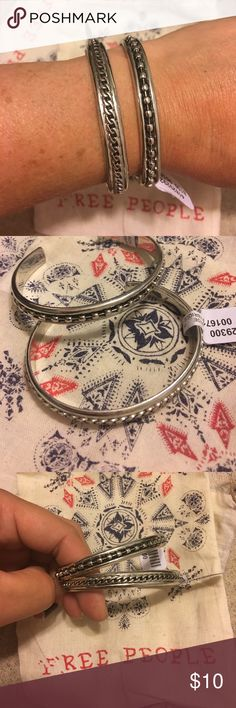 Free People cuff bracelets New with tags and bags. Silver toned cuff bracelets from Free People. Best suited for smaller wrists. Selling as a set to offset fees and shipping. Free People Jewelry Bracelets