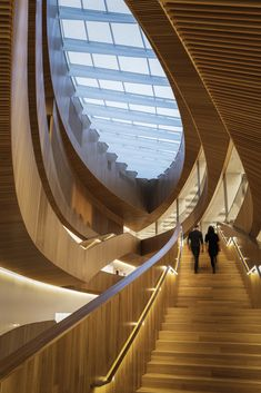 Snøhetta and Dialog's New Central Library for Calgary features vast wood-lined atrium Wood Architecture, Amazing Architecture, Architecture Details, Library Architecture, Innovative Architecture, Minimalist Architecture, Organic Architecture, Atrium, Calgary News