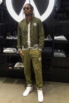 Future Hendrix wearing Freebandz Colossal Bomber Jacket, Freebandz Velvet Joggers, Nike Air Force 1, Dior So Real Sunglasses