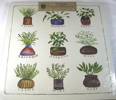 "Cork Placemats  Herbs  Set of 4 113.75"" x 13.75 In. Square  Easy Care #BensonMills"