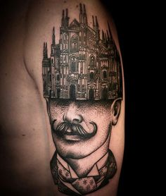 Surrealist tattoo cathedral mustache