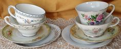 Mismatched Tea cups and Saucers 4 mix & match sets, Tea Party, Wedding 8 pcs *et #shabbychic #many
