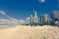 The beach at Surfers Paradise, Queensland Gold Coast Queensland, Gold Coast Australia, Visit Australia, Queensland Australia, Surfers, Running Away, Green And Gold, Maui, San Francisco Skyline