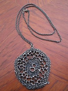 $112.....Very Large GUY VIDAL MID CENTURY ABSTRACT MODERNIST PEWTER NECKLACE & PENDANT (11/27/2013)