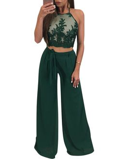 Floral Embroidery Mesh Top Wide Legs Pant Set_Pant Set_Women Set_Sexy Lingeire   Cheap Plus Size Lingerie At Wholesale Price   Feelovely.com