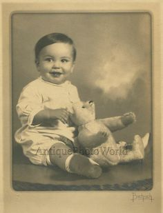 Cute boy with toy teddy bear antique photo by Bachrach in Collectibles | eBay